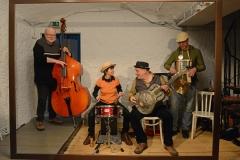 München, Theater Blaue Maus, Stormy Wednesday - Blues Session, Bernd Bauer Bues Band, v. l. Albrecht Widmann, Sigrun Lenk, Bernd Bauer, Heiko Reißmann, 28. Februar 2018
